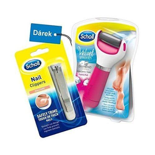 Scholl Dárková sada Elektrický pilník na chodidla Velvet Smooth Diamond Pink + klip na nehty