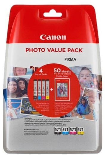 Canon CLI-571 C/M/Y/BK Photo Value pack + 4x6 Photo Paper (PP-201 50sheets) (0386C006)
