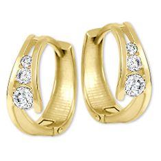Brilio Zlaté náušnice kroužky s krystaly 239 001 00800 - 1,55 g zlato žluté 585/1000