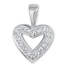 Brilio Přívěsek z bílého zlata Srdce s krystaly 249 001 00106 07 - 0,70 g zlato bílé 585/1000