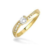 Brilio Dámský prsten s krystaly 229 001 00449 - 1,70 g zlato žluté 585/1000