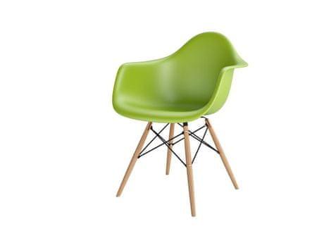 Mørtens Furniture Jídelní židle s dřevěnou podnoží Blom, zelená