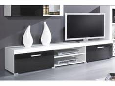 Televizní stolek SAMBIA, bílá/černý lesk