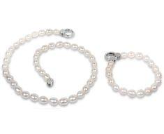 JwL Luxury Pearls Souprava náhrdelníku a náramku z pravých bílých perel JL0138 stříbro 925/1000
