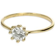 Brilio Zlatý zásnubní prsten s krystalem 226 001 00934 - 1,30 g zlato žluté 585/1000