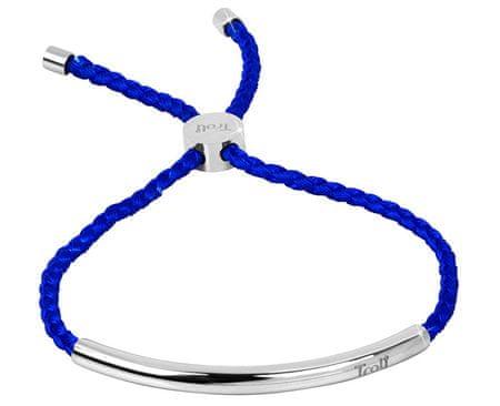 Troli Kráľovsky modrý šnúrkový náramok s oceľovou ozdobou