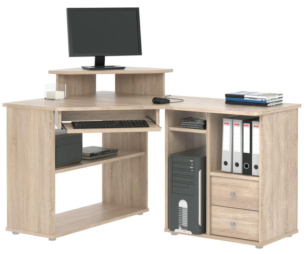 Rohový PC stůl BENSON, dub sonoma