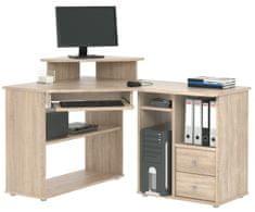 Rohový PC stůl TCHEODOR, dub sonoma