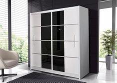 Šatní skříň s posuvnými dveřmi PIORTO 203, bílá/černé sklo