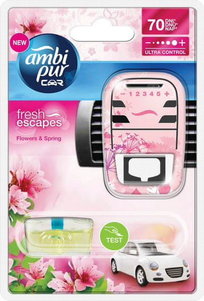 Ambi Pur Osvěžovač vzduchu, Car Fresh Escapes - Flowers & Spring, strojek + náplň 7 ml