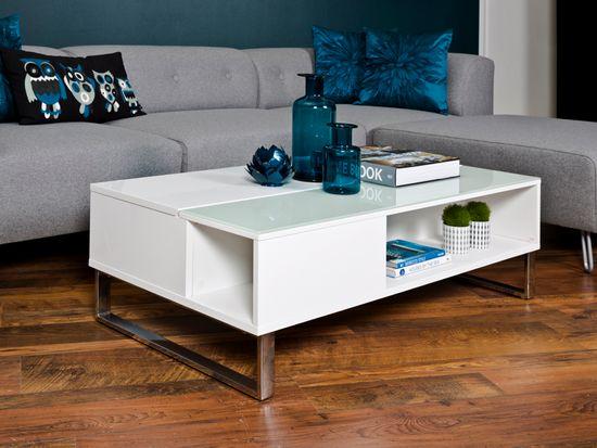 Design Scandinavia Konferenčný stolík Rosemary, 110 cm, biela
