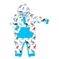 Makoma Chlapecký overal s kapucí Kangaroo - modro-bílý