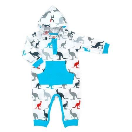 Makoma Chlapecký overal s kapucí Kangaroo 68 - modro-bílý