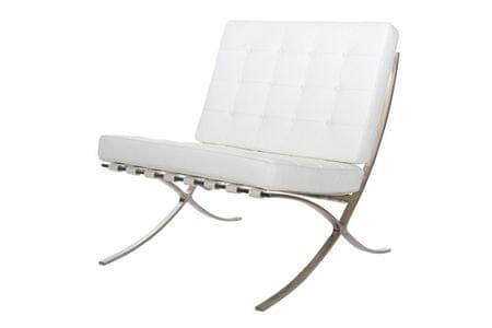 Mørtens Furniture Luxusní křeslo Xtreme pravá kůže, bílá