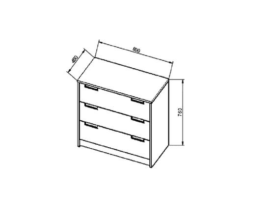 ANTERIA komoda 3 zásuvky, buk/zelená