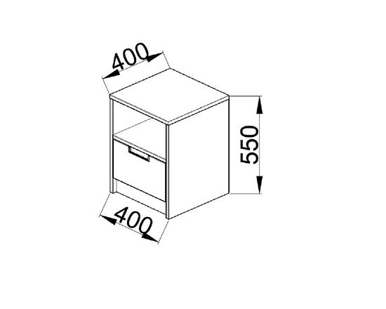 ANTERIA Noční stolek, 1 zásuvka s nikou, buk/zelená