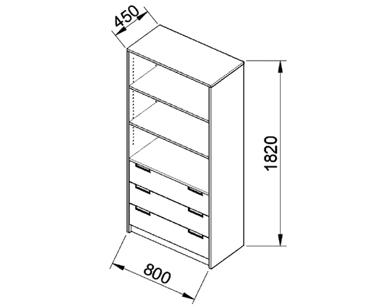 ANTERIA Policová skříň široká, zásuvky s nikou, buk/zelená