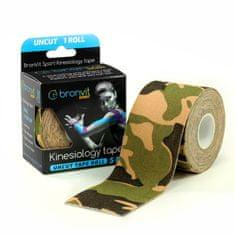 BronVit  Sport Kinesiology tape Uncut 5m x 5cm - maskovaná zelená