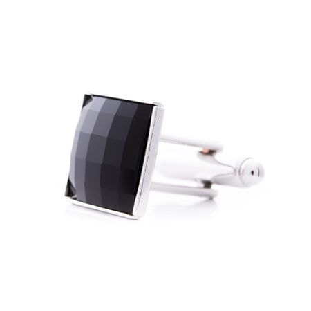 Černé manžetové knoflíčky se Swarovski® kameny - Black. Rhodiováno.  Krabička zdarma 1c357b50292