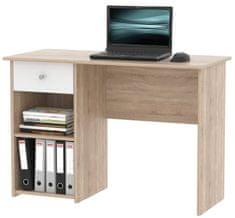 Praktický psací stůl se zásuvkou CURT, dub sonoma/bílá DOPRODEJ