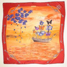 VERSACE 19.69 ženski šal Feel Butterflies, rdeč