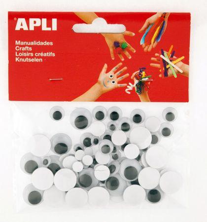 Oči APLI samolepicí kulaté černé mix velikostí/100 ks