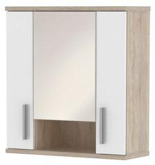 LINNDA, skříňka horní LI01 se zrcadlem, dub sonoma/bílý lesk
