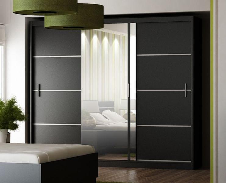 Šatní skříň s posuvnými dveřmi WISTA 250, černá