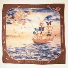 VERSACE 19.69 dámský hnědý šátek Feel Butterflies