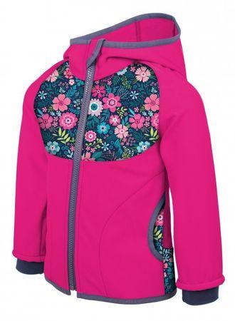 Unuo lány softshell kabát Virágok 80-86 rózsaszín