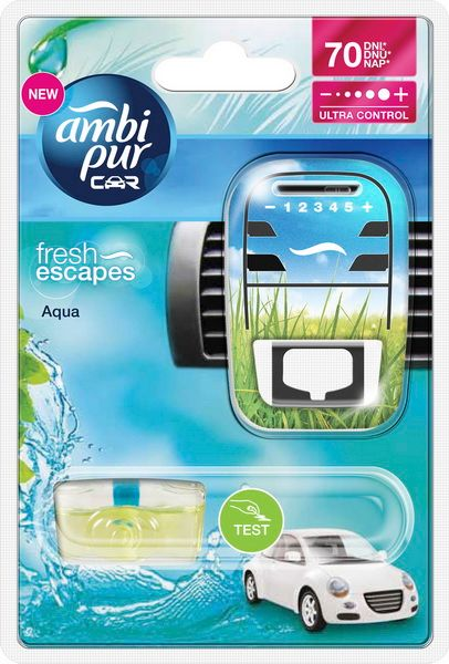 Ambi Pur Osvěžovač vzduchu, Car Fresh Escapes - Aqua, strojek + náplň 7 ml