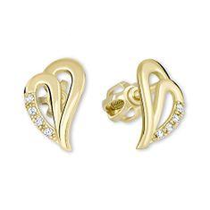 Brilio Zlaté náušnice srdce s krystaly 239 001 00738 - 1,45 g zlato žluté 585/1000