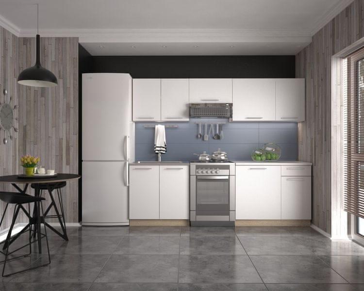 Kuchyně DARRIA 180/240 cm, korpus: dub sonoma, dvířka: bílé