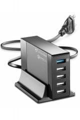 CellularLine USB polnilna postaja s 5 USB vhodi, Qualcomm 3.0, črna