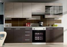 Kuchyně CAMONIX 180/240 cm, tmavé legno/dub ferrara