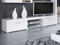 Televizní stolek SAMBIA, bílá/bílý lesk