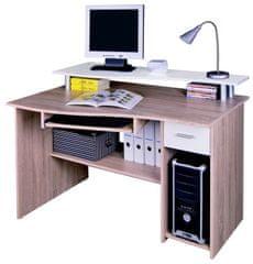 Kancelářský PC stůl LEION, dub sonoma/bílá
