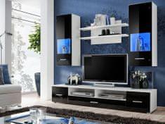 RENNO, obývací stěna, bílá/černý lesk