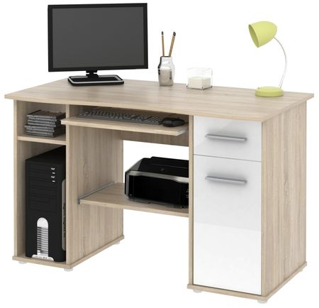 Kancelářský PC stůl SEMUEL, dub sonoma/bílý lesk
