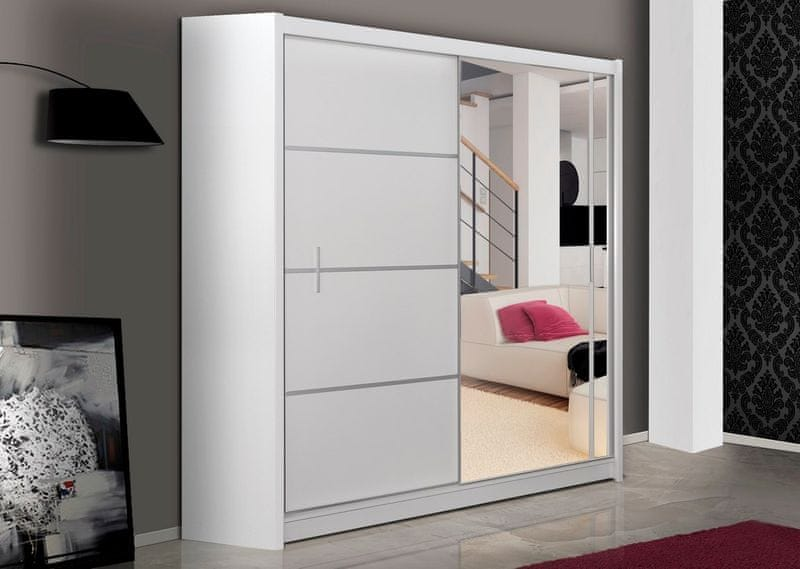 Šatní skříň s posuvnými dveřmi WISTA 180, bílá