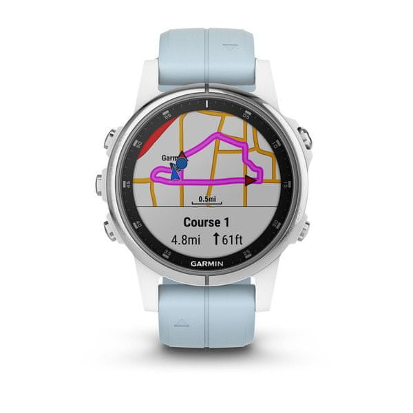 Garmin fénix 5S Plus White, Seafoam band