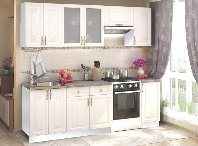 Kuchyně VIKTORIE 180/240 cm, bílý santál