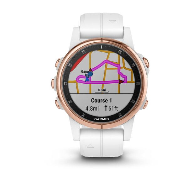 Garmin fénix 5S Plus Sapphire, Rose Gold, White band