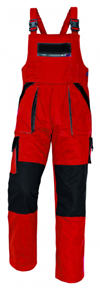 Červa MAX kalhoty s laclem červená/černá 56