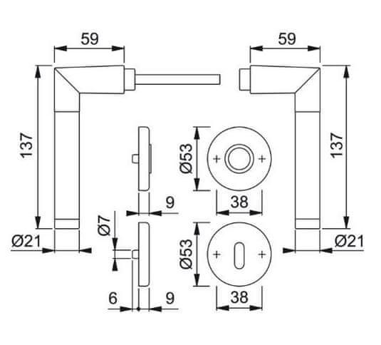 Hoppe aluminijasta kljuka za notranja vrata Amsterdam F1/F69 za sobni ključ