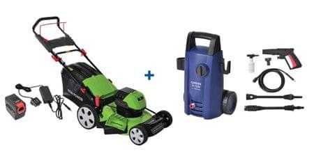 REM POWER akumulatorska kosilnica LMEm 4660 Li-power + visokotlačni čistilnik Garden H 1350