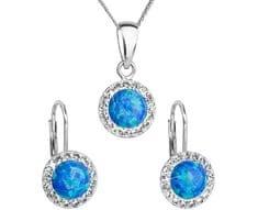 Evolution Group Třpytivá souprava šperků 39160.1 & blue s.opal stříbro 925/1000