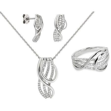 Silver Cat Zestaw biżuterii z błyszczącymi cyrkoniami + Łańcuch bezpłatnie (obwód 54 mm) srebro 925/1000