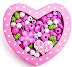 Woody Navlékací korálky - Malé srdíčko růžové