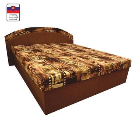 Manželská posteľ, s penovými matracmi, hnedá/vzor, PETRA